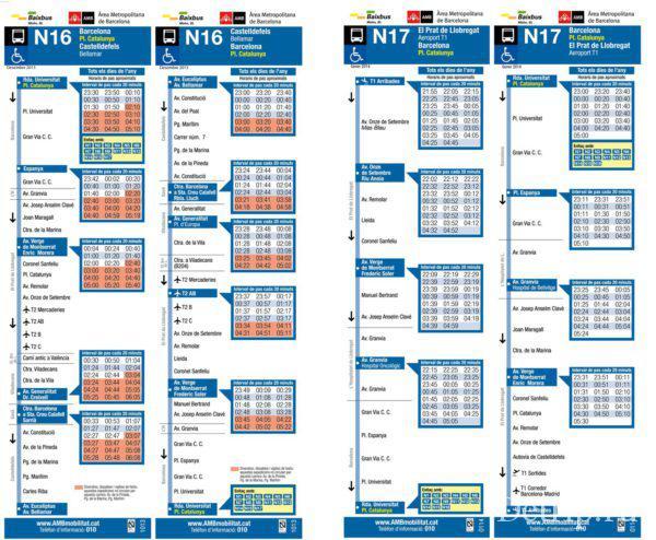 маршруты ночных автобусов №17 и №16 из аэропорта Барселоны