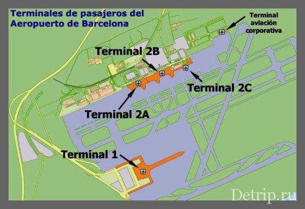Схема терминалов Аэропорта Барселоны