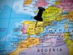 Где находится Испания на карте мира и на карте Европы