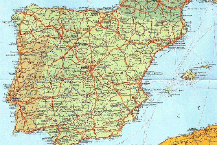 карта испании с городами и курортами