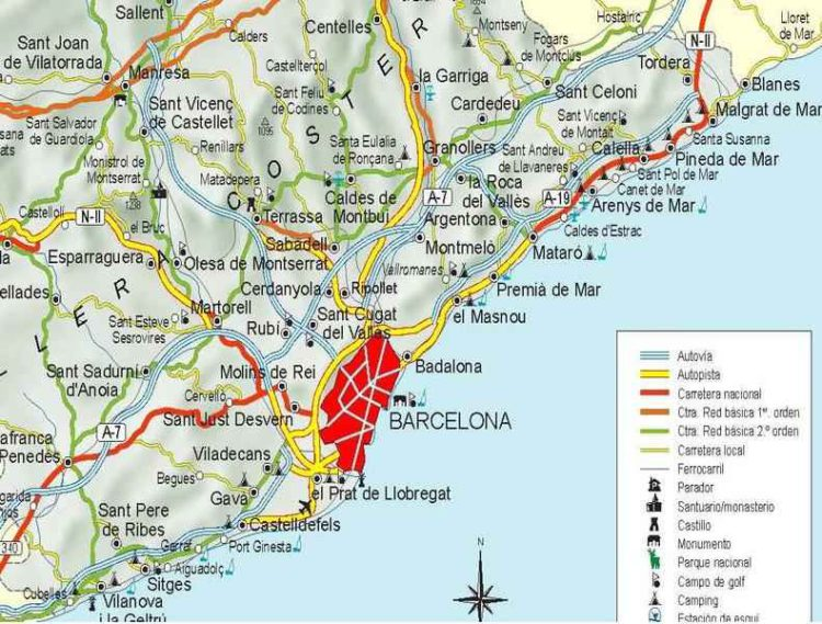 Барселона на карте