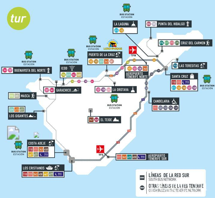 карта автобусов Тенерифе